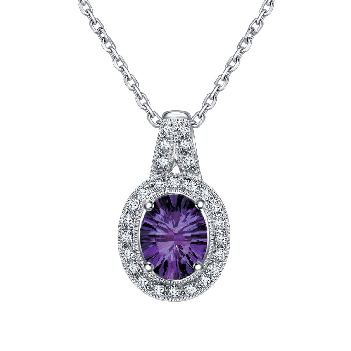Ringjewels 0.13 Ct Amethyst /& Sim Diamond Halo Pendant Necklace with 18 Chain in 14K White Gold Plated
