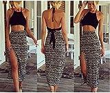 Bamgool Women Bralet Cami Crop Top Two Piece Set Split Skirt Casual Dress (Medium)