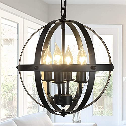 4-Light Rustic Pendant Lighting Fixture Adjustable Height Industrial Globe Handing Lighting