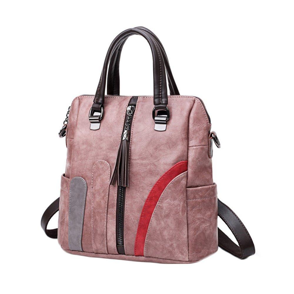 Leather Handbag Ladies Backpack Multi Color Blocked Shoulder Bag Fashion Backpack (Black Pink Purple),Pink-291327cm