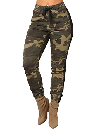 f73e7c07ff Women's High Waist Slim Fit Camouflage Camo Military Pants,Active  Drawstring Cargo Trousers Jogger Pants