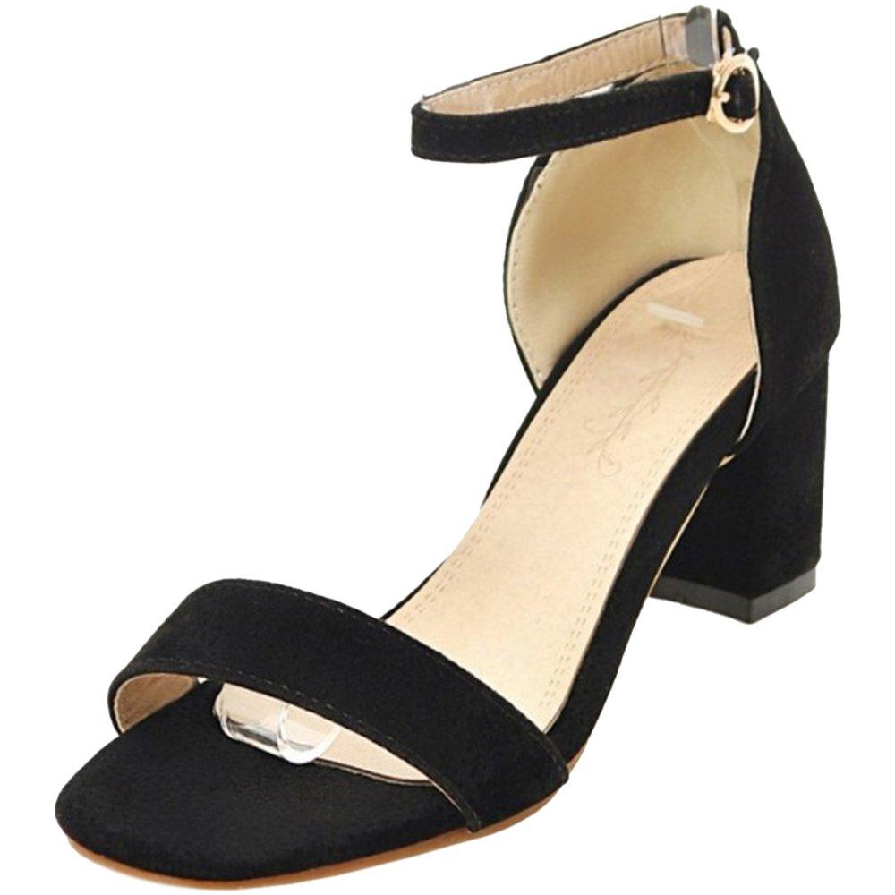TAOFFEN Femmes Bride Ete Cheville Sandales B019P35AMK Bout Ouvert Ete Chaussures Bride Black 910a430 - piero.space