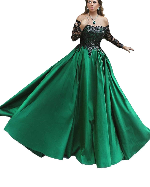 Green Jdress Women's Long Evening Dress Lace Sleeve Off The Shoulder Ball Prom Gowns