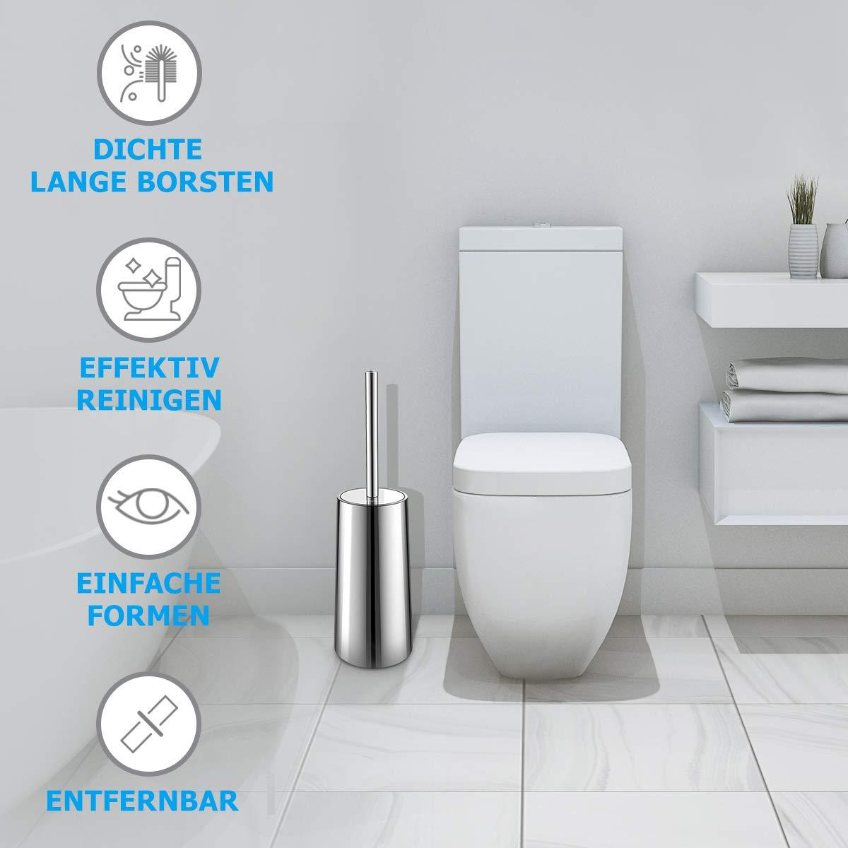 Spiegel-oberfl/ächenhalter Edelstahl und Rost-best/ändig Klob/ürste und Halter Homemaxs WC B/ürste Dauerhaft Toilettenb/ürste f/ür Badezimmer WC
