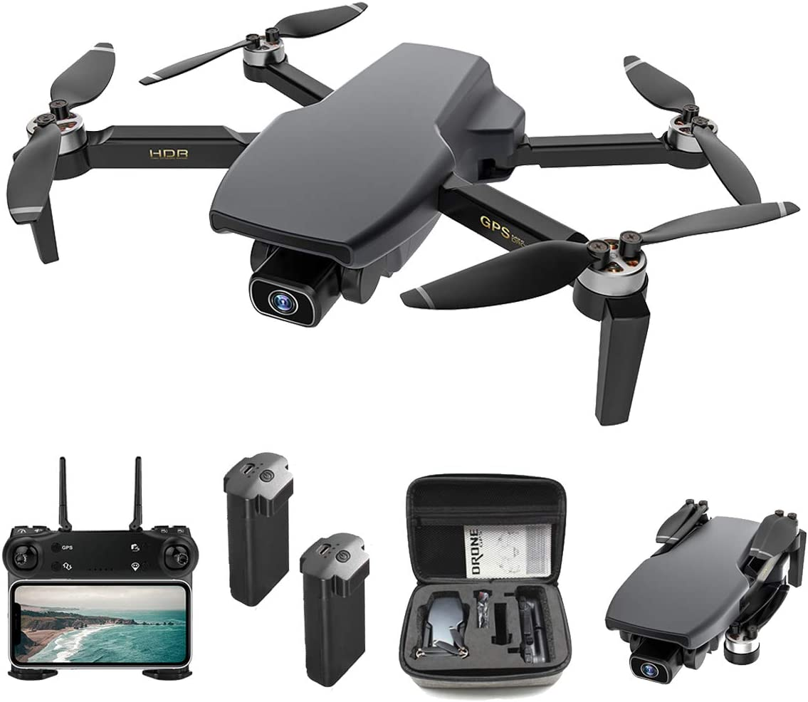 Foldable GPS FPV Drone with 4K Camera for Adults RC Quadcopter with GPS, Brushless Motor, Follow Me, Auto Return Home, 28 Minutes Flight Time, Dual Camera, Optical Flow Position, Include Storage Bag