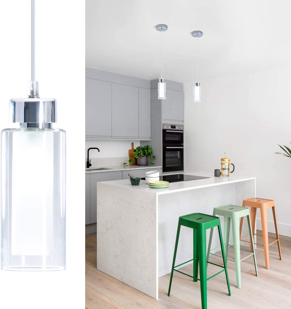Bewamf Modern Pendant Lighting Contemporary 1 Light Mini Pendant Lights Dual Glass with Cylinder Shape in Chrome Adjustable Lamp for Kitchen Island Bar Living Dining Room Bedroom
