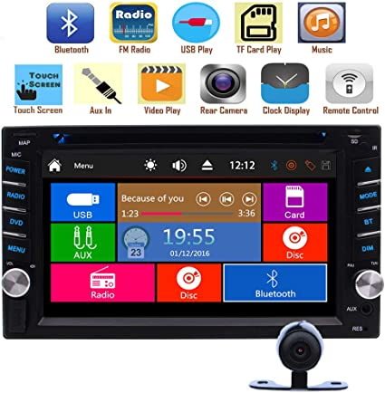Remote Control and Rear Camera Double Din 7 Inch Touch Screen Car Stereo with Built-in HD Radio Autoradio Android Carplay Head Unit Support GPS Navigation FM//AM RDS Radio AUX Bluetooth