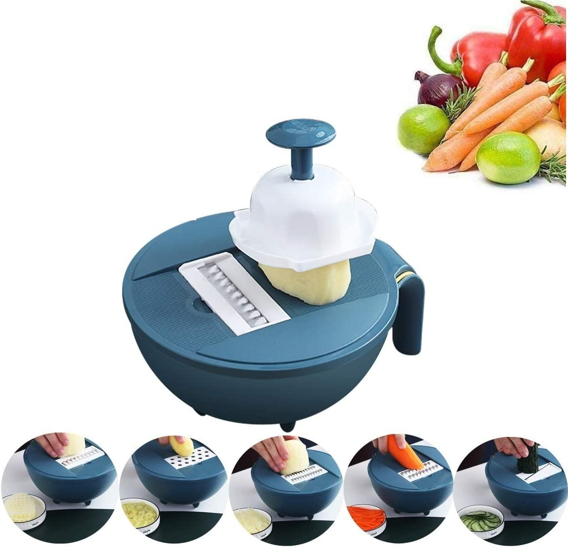 choary Wheat Straw Vegetable Choppers - 10 in 1 Mandoline Slicer Multi-Function Food Cutter with 5 Interchangeable Stainless Steel Blades with Colander Chip Slicer (Dark BLUE)