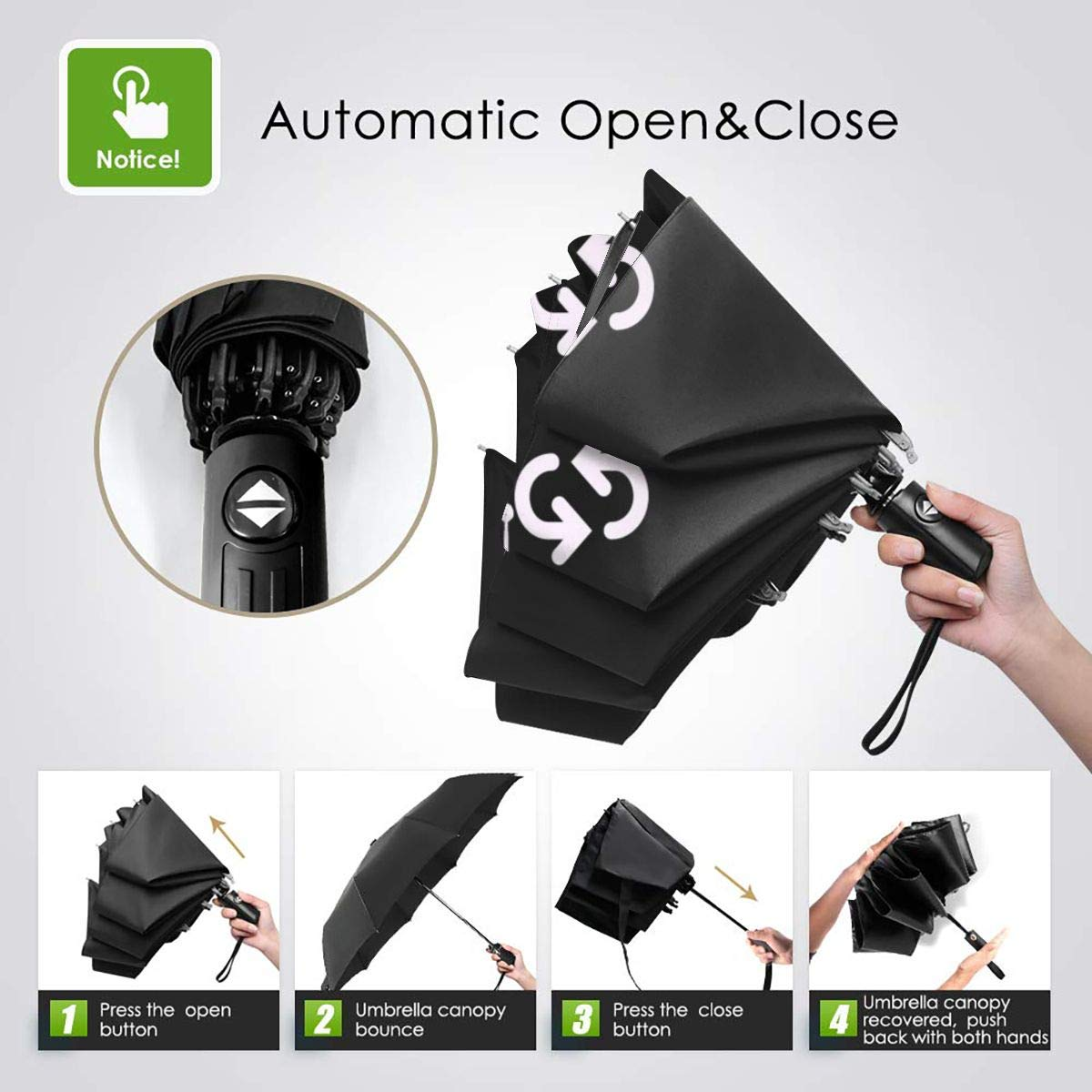 54493b5f63cf Amazon.com: Gamers Life Automatic Travel Umbrella, Compact Travel ...
