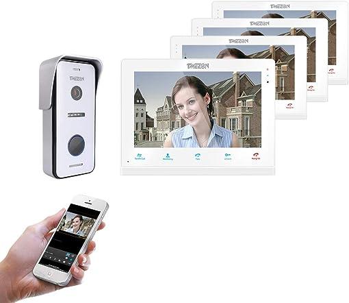 TMEZON Video Doorphone Intercom Doorbell System IP 4 Montior