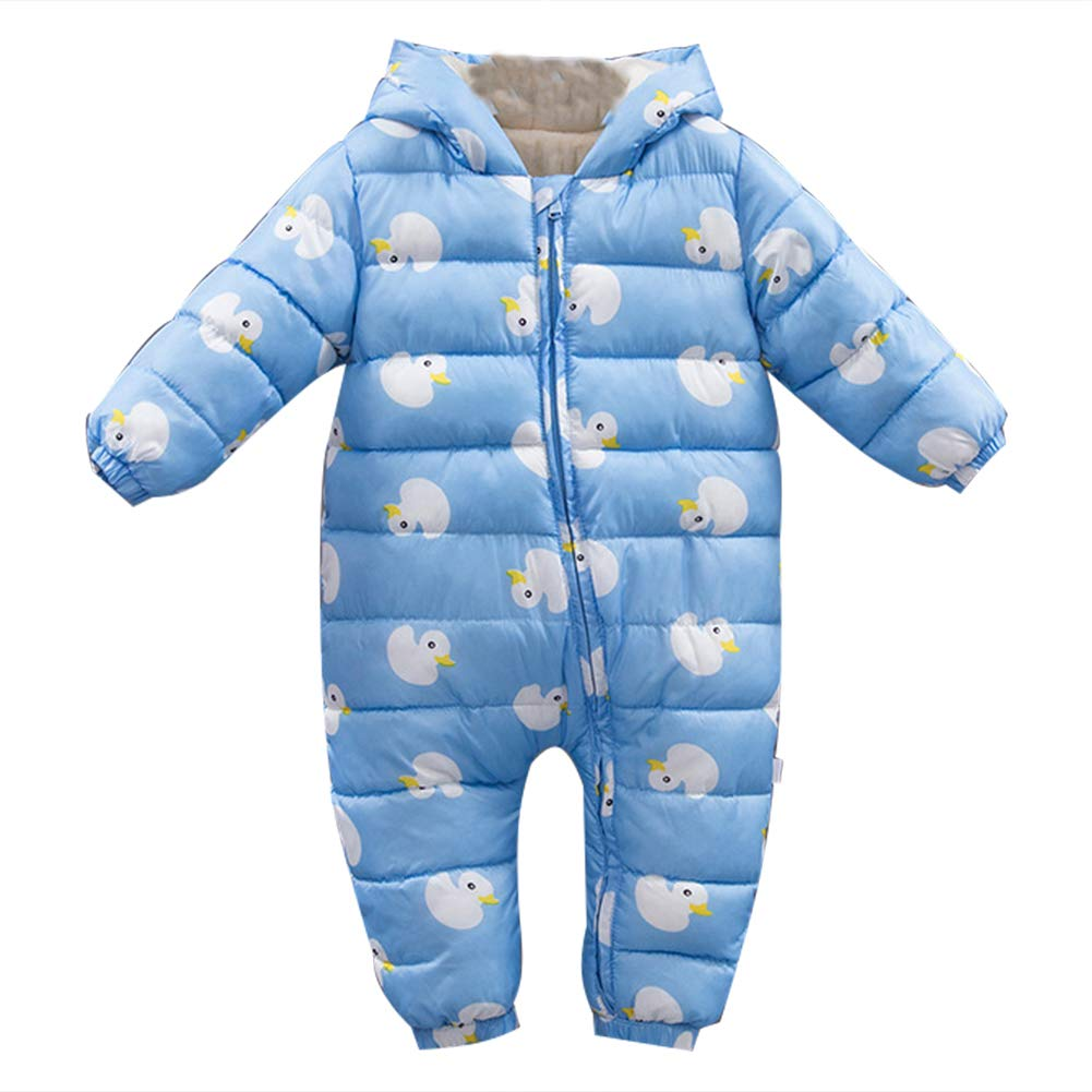 LSERVER Unisex Baby Winter Hooded Down Jumpsuit Snowsuit Romper Warm Pramsuit Infant Bodysuit Onesies X8241YU