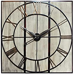 Infinity Instruments Rustic 3-Piece Clock Wall Decor Large | 3 Panel Wall Clock Huge | 45 inch XL Home Decor