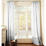 Carousel Designs Gray and White Dots and Stripes Drape Panel 84-Inch Length Standard Lining 42-Inch Width