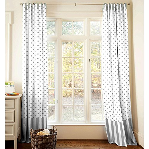 Carousel Designs Gray and White Dots and Stripes Drape Panel 84-Inch Length Standard Lining 42-Inch Width by Carousel Designs
