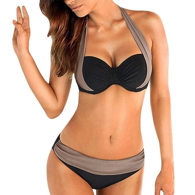 b2203d5f03a5 Yuson Girl Mujer Ropa de Baño Tops de Bikini con Relleno Traje de Baño Push  up Bañador de Cuello Hálter Mujer Push-up Bikini: Amazon.es: Ropa y  accesorios
