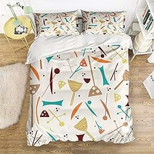 Geometric hit color Home Comforter Bedding Sets Duvet Cover Sets Bedspread ,Flat Sheet, Shams Set 4Pieces,(Twin)for Adult Kids girls