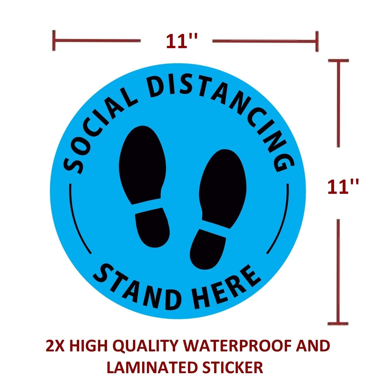Safety Floor Sign Marker 11x11 Sticker and 11x14 Poster Anti-Slip Commercial Grade Unframed Social Distancing Floor Decals and Poster Set - Shipping Flat Printed on Quality Poster Paper