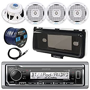 "Kenwood KMR-M322BT In-Dash Marine Boat Audio Bluetooth USB Receiver w/ Waterproof Protective Cover Bundle Combo 4x 400W 6.5"" White Coaxial Speakers, Radio Antenna, 16g 50ft Speaker Wire"