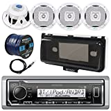 Kenwood KMR-M322BT In-Dash Marine Boat Audio Bluetooth USB Receiver w/ Waterproof Protective Cover Bundle Combo  4x 400W 6.5'' White Coaxial Speakers, Radio Antenna, 16g 50ft Speaker Wire