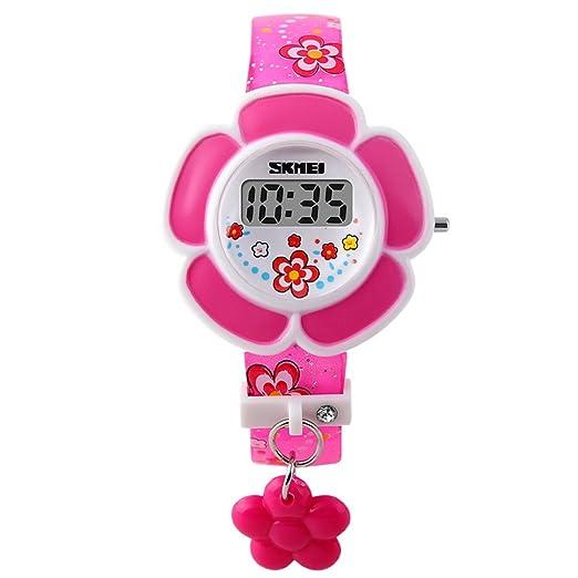 90469417d709 SKMEI - Reloj Infantil Digital LED Reloj de Cuarzo Electrónico Forma de  Flores para Niñas Estudiantes Reloj Princesa Correa de PU Estampado de  Flores ...