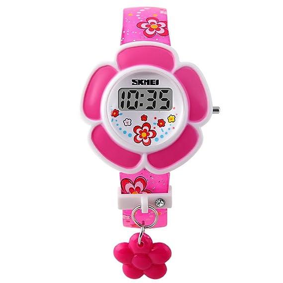 SKMEI - Reloj Infantil Digital LED Reloj de Cuarzo Electrónico Forma de Flores para Niñas Estudiantes Reloj Princesa Correa de PU Estampado de Flores ...