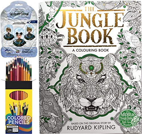 The Jungle Book – A Colouring Book + Colored Pencils & Disney Mystery Blind Pack Kingdom Hearts Domez Figure Series - World Kingdom Hours Disney Magic