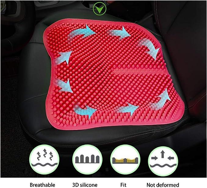 Cuscino per seggiolino auto in silicone confortevole e traspirante grigio viaggio in macchina allevia laffaticamento sedentario cuscino per massaggio salute 3D quattro stagioni universali
