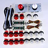 Easyget Arcade Control Panel DIY Kits Bundles 2 x USB Port Encoder Board + 2 x Arcade Joystick + 20 x LED Illuminated Buttons Cables for Arcade Sticks USB Connector Street Fighters Joystick Consoles & Raspberry Pi 1/2/3 Retropie Project White + Red Sets
