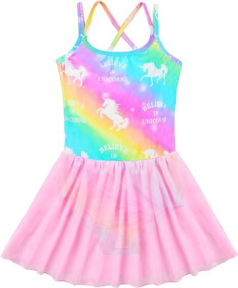Nidoul Official Gymnastics Leotards Dress for Toddler//Girls Sparkly Unicorn Rainbow Skirted Dance Ballet Dress