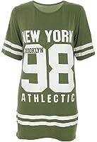 Janisramone donne Le signore Nuovo baseball di New York 98 di Brooklyn stripe Stampare extralarge a cavallo basso Maglietta Cima