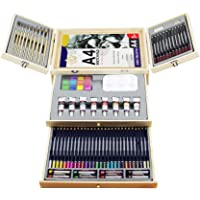 83-Piece Lucky Crown Deluxe Professional Art Set in Portable Wooden Case