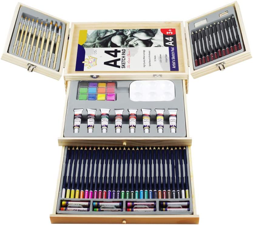 Professional Art Set, Art Supplies in Portable Wooden Case, 83 Piece Deluxe Art Set for Painting & Drawing, Art Kit for Kids, Teens and Adults/Gift