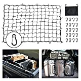 #1: BORDAN Bungee Cargo Net 5'x7' Heavy Duty Truck Bed Nets Stretches to 10'x14' Suv Cargo Net For Rooftop Cargo Carrier with 16pcs D Clip Carabiners for Pickup Truck SUV Trailer Boat RV