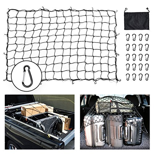 Net 5'x7' Heavy Duty Truck Bed Nets Stretches to 10'x14' Suv Cargo Net For Rooftop Cargo Carrier with 16pcs D Clip Carabiners for Pickup Truck SUV Trailer Boat RV ()