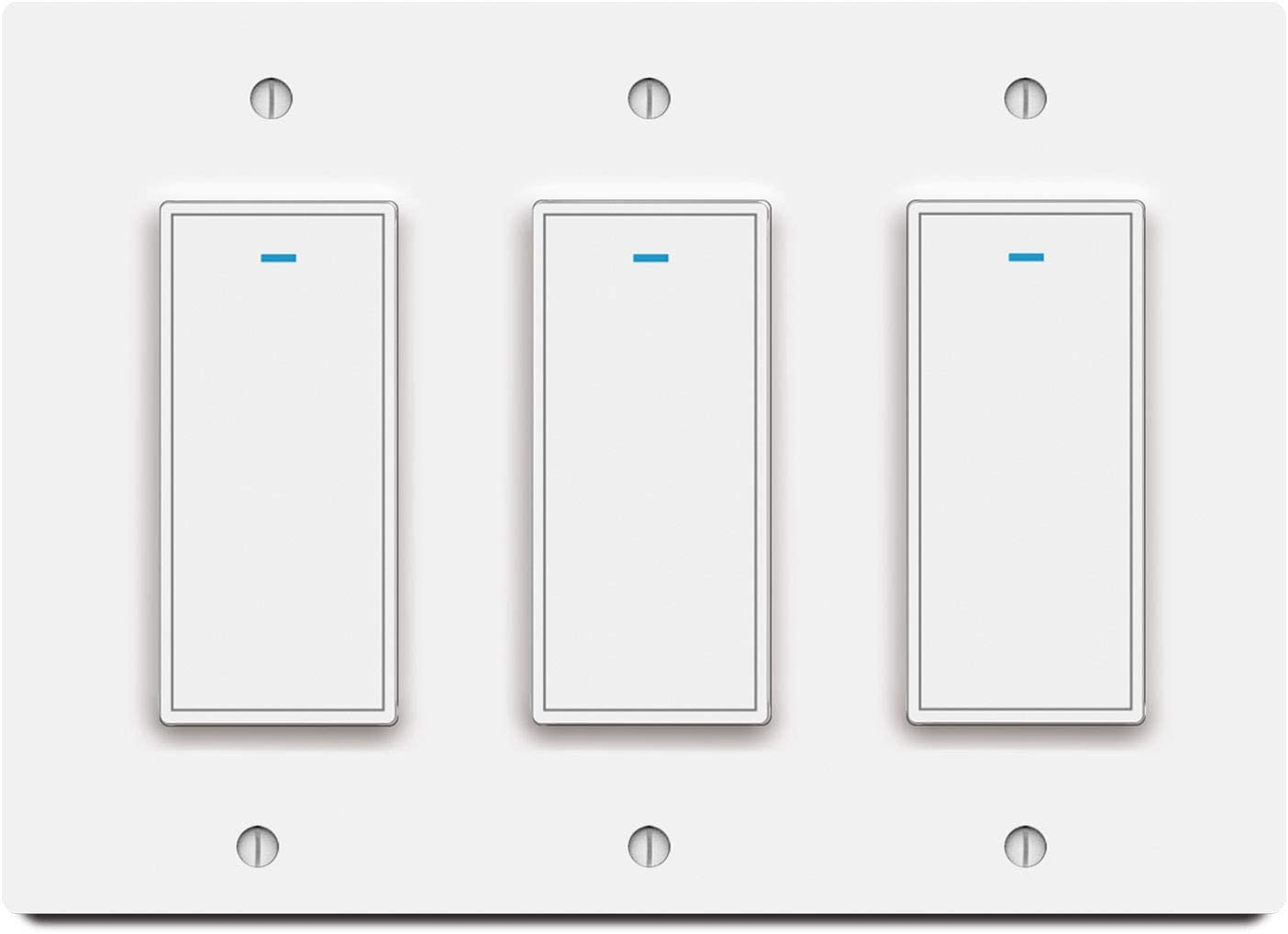 Smart WiFi Light Switches Compatible with Alexa,Google Assistant and IFTTT,With Timer and Remote Control,Schedule,Neutral Wire Needed,Single Pole button switch (3gang)