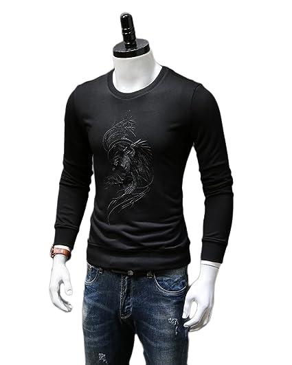 fa1bcca2f363 Herren Sweatshirt Musterpullover Men Autumn Pure Embroidery Simple Youth  Long Sleeve Sweater Fashion,Black-