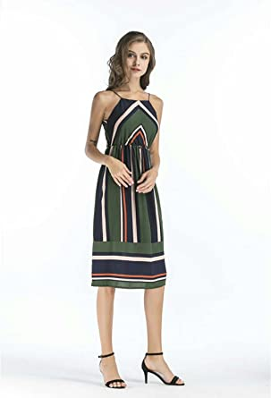 Hawa eye Summer Dresses for Women Juniors Spaghetti Strap Stripe Banded Empire Waist Beath Sundress Rouched
