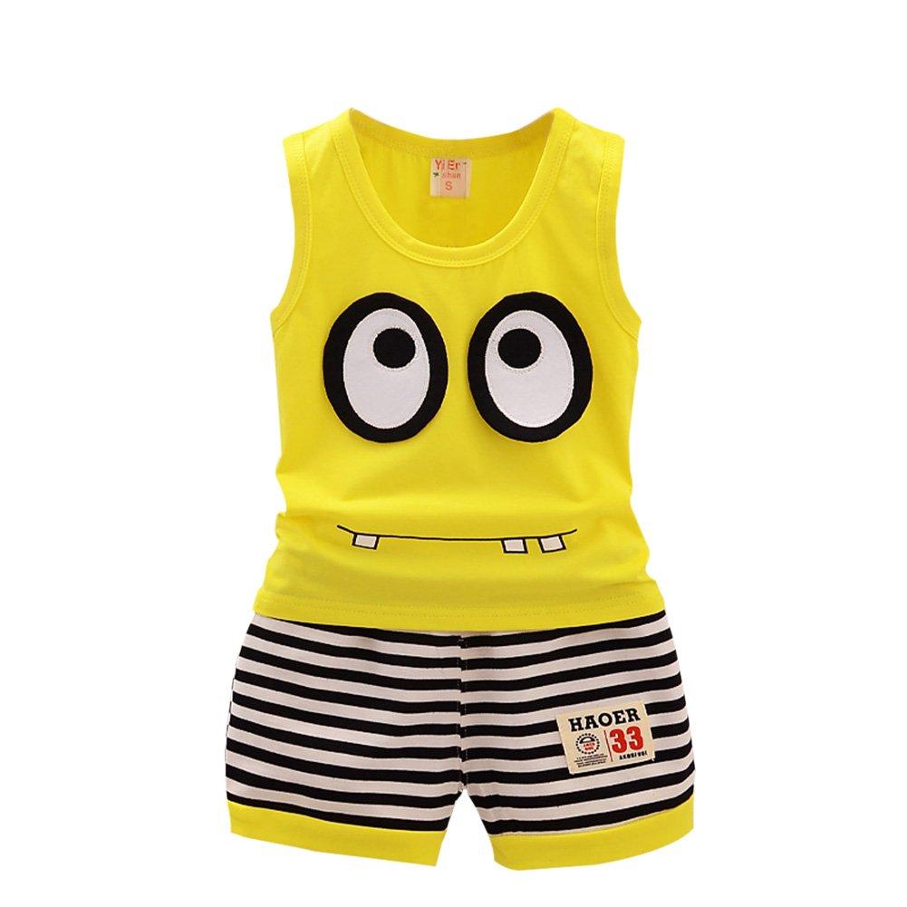 BAOBAOLAI Baby Boys Summer Outfits Sleeveless Top Shirt + Shorts Clothes Set Yellow