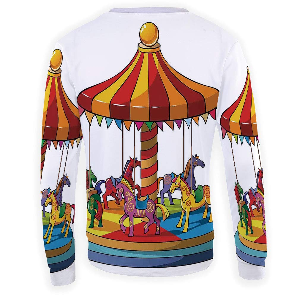 Mens Kabuki Mask Decoration Sweatshirt Pullover