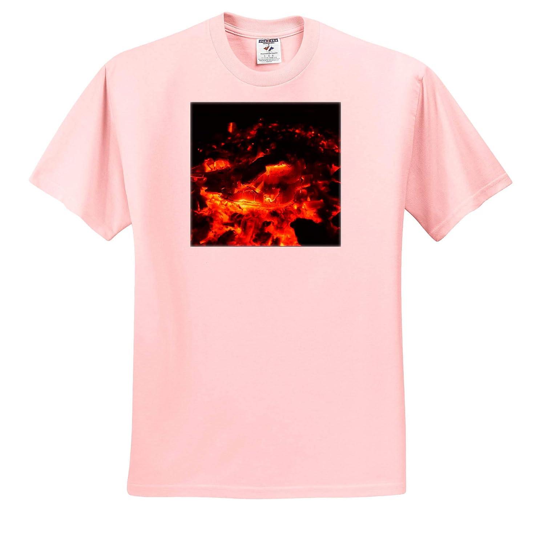3dRose Susans Zoo Crew Animal Dragon Head in Burning fire coals T-Shirts