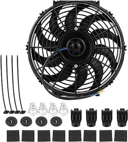 Ventilador de enfriamiento del motor de coche 12V, ventilador de enfriamiento del radiador eléctrico 80W 12 pulgadas con10 cuchillas accesorios de montaje de automóviles: Amazon.es: Coche y moto
