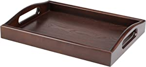 Serving Tray Wooden Food Breakfast Dinner Tray for Coffee Table Solid Wood Serving Tray with Handle 12x16 inch (Polished)