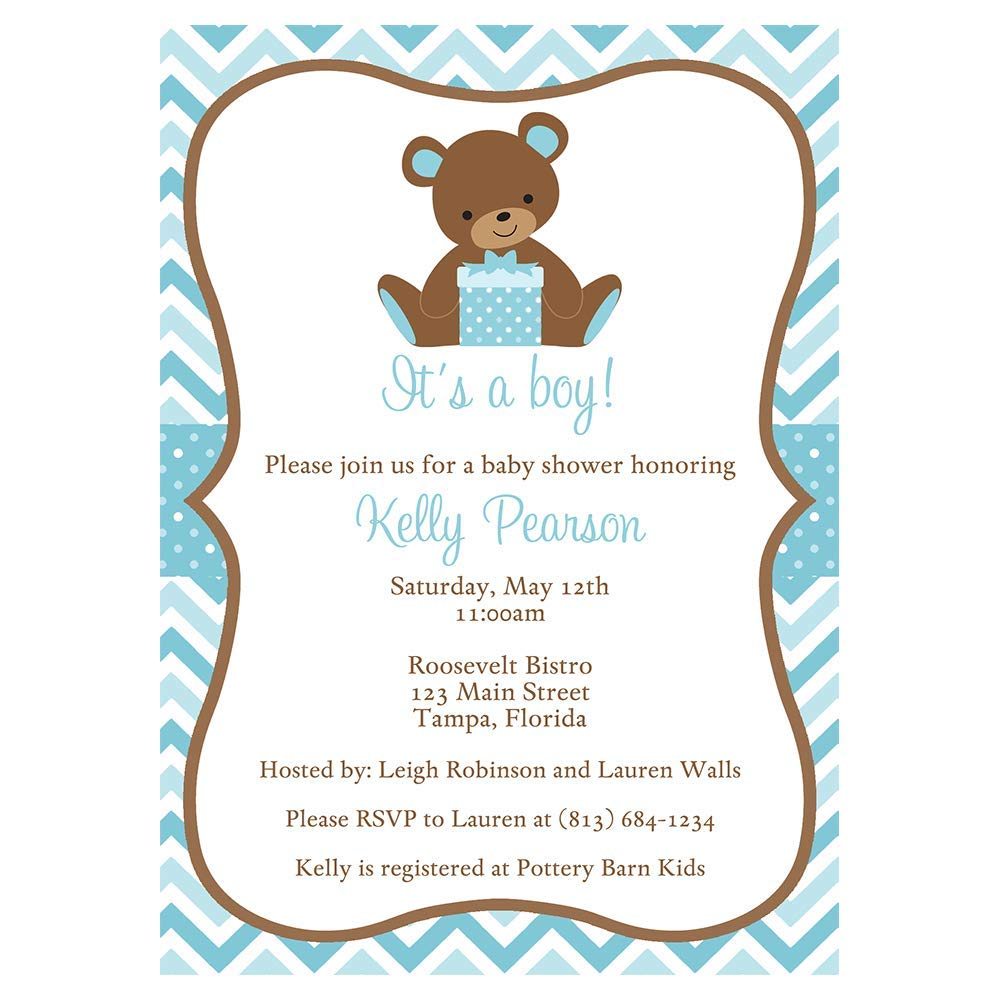 Amazon Com Teddy Bear Baby Shower Invitations Chevron Stripes New Plan Rescheduled Event Party Shower Save The Date Postponed Invites Polka Dots Aqua Blue Boys It S A Boy 10 Count Baby