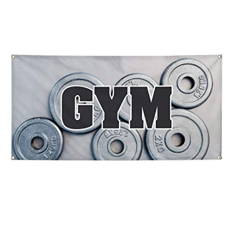 Amazon.com: Vinyl Banner - Cartel de gimnasio con texto en ...