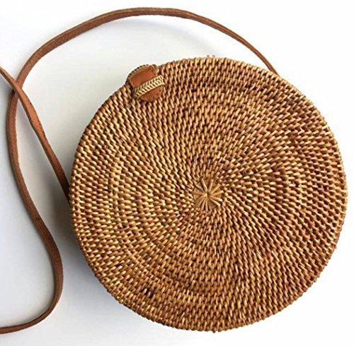 Seagrass Woven Bali Handbag Straw Bag Bamboo Bag Purse Round Shape Luxe Beach Bag for Women Blogger - Shapes Fave