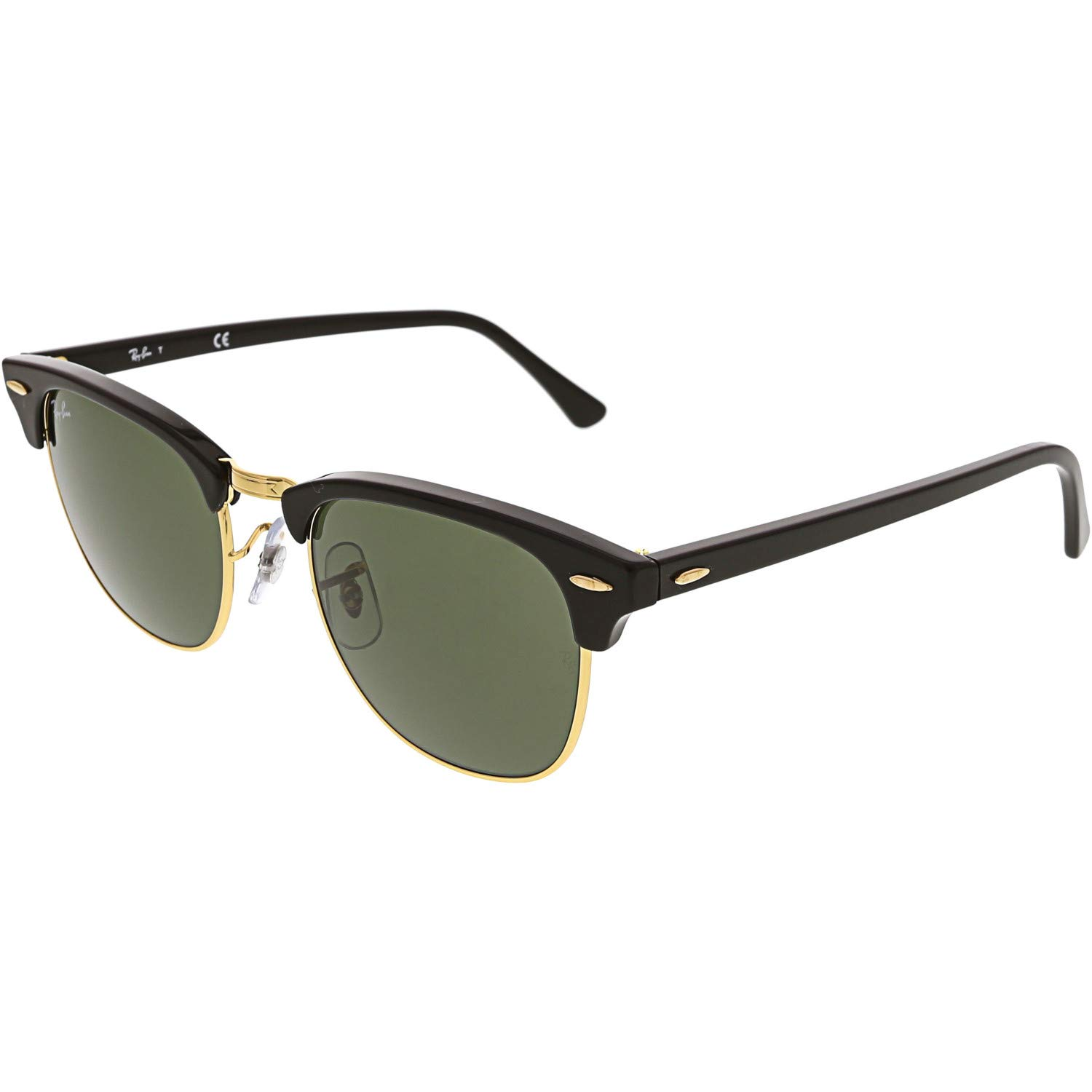 RAY-BAN RB3016 Clubmaster Square Sunglasses, Black On Gold/Green, 51 mm by RAY-BAN