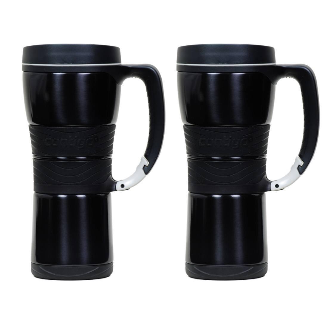 Contigo Extreme Stainless Steel Travel Mug with Handle, 16oz - Metallic Black (2 Pack)