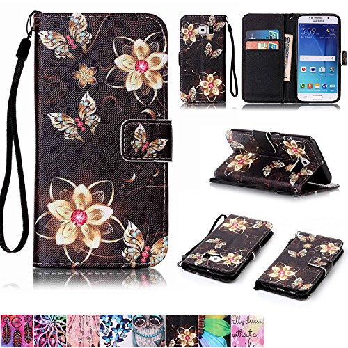 Galaxy S6 Case,Firefish [Kickstand Feature][Drop Proof] Durable Leather Folio Style Wallet Case with Anti-scratch Protective Cover for Samsung Galaxy S6-Golden Flower Butterfly
