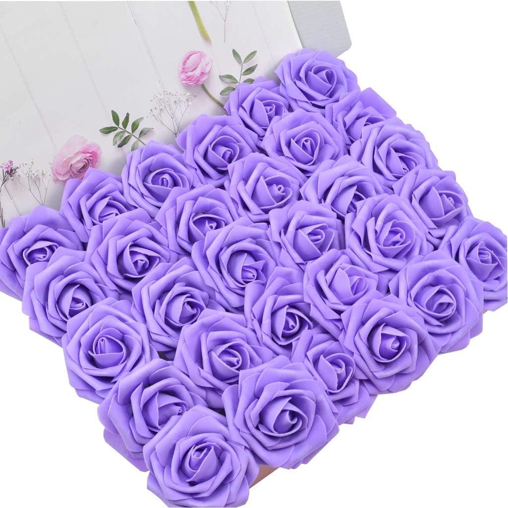 arreglos de Fiesta para Baby Shower DerBlue 60 Rosas Artificiales de Aspecto Real Rosas Artificiales de Espuma para decoraci/ón de Ramos de Boda decoraci/ón del hogar centros de Mesa