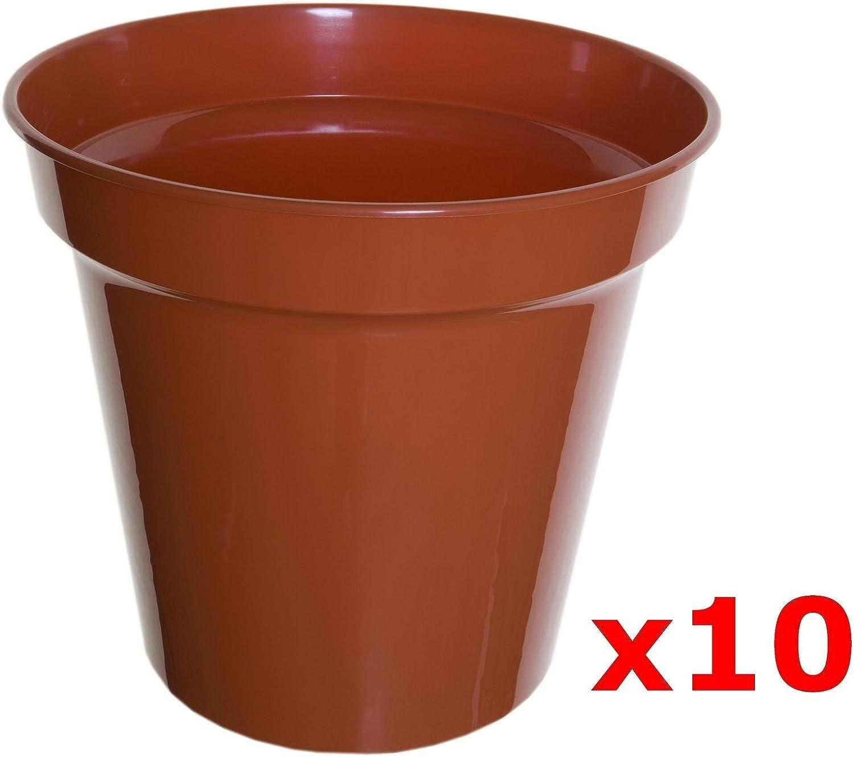 Nutley/'s Round Modiform 22cm Plastic Plant Pots in Terracotta 5 Litre Capacity
